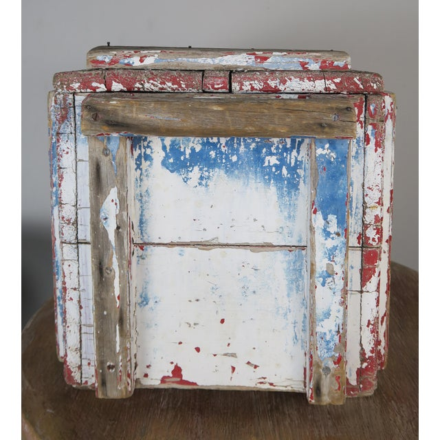Arts & Crafts Painted Wood Work Box W/ Metal Clasp and Handles For Sale - Image 3 of 13