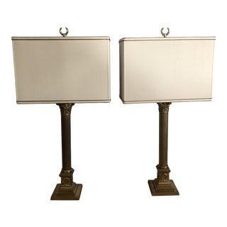 Brass Corinthian Column Lamps W/ Dupioni Silk Shade - a Pair For Sale