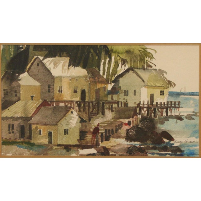 Original Bruce Spicer Vintage Coastal Watercolor Painting - Image 3 of 9