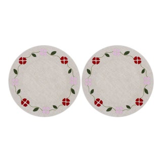 Matisse Placemat, Oatmeal With Red and Pink, Set of 2 For Sale