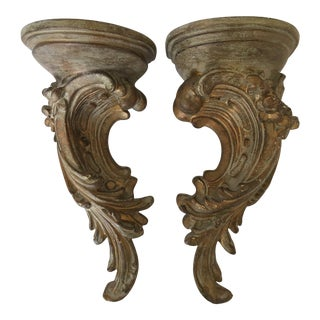 Florentine Style Acanthus Leaves Wall Brackets - a Pair For Sale