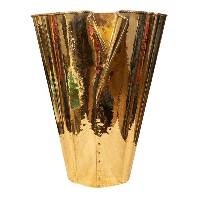 "1970s ""Corset"" Brass Umbrella Stand For Sale"