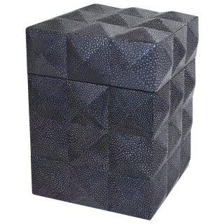 Italian Fabio Ltd Pyramid Black Shagreen Box For Sale