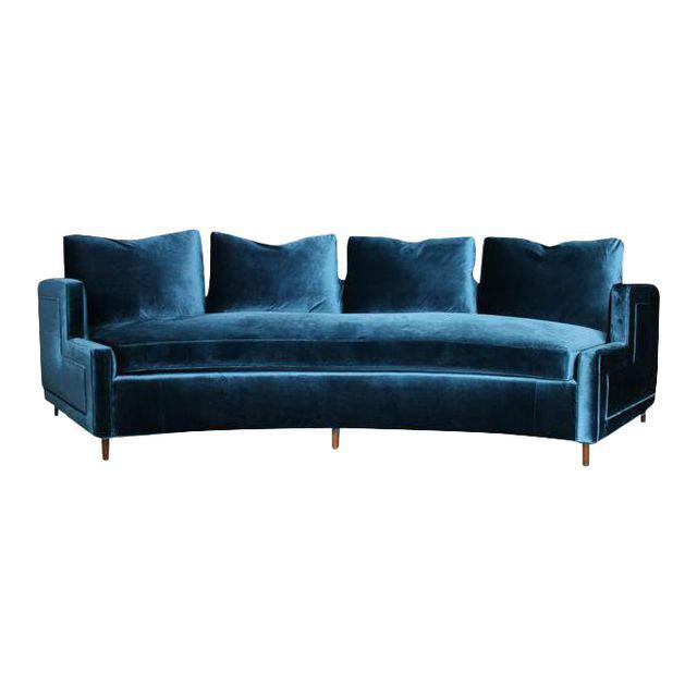 Foundation Shop Pierre Curved Blue Velvet Sofa For Sale - Image 4 of 4