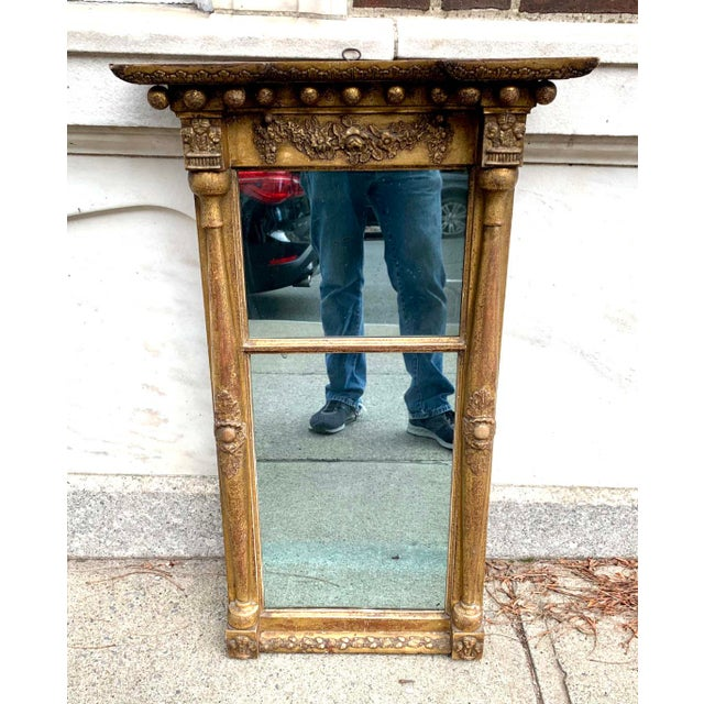 A wonderful early 19th century ( 1800 - 1810 ) 2 part gilt mirror with all the trimmings ( Oak leaf and acorns Swags of...