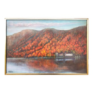 Vintage Fall Landscape Painting Oil on Canvas For Sale