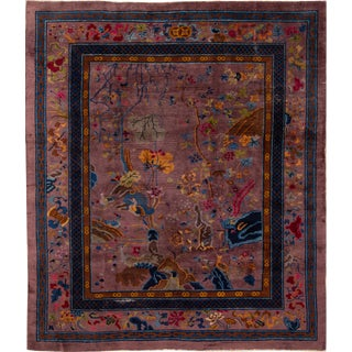 Early 20th Century Antique Art Deco Chinese Wool Rug 8 X 10 For Sale
