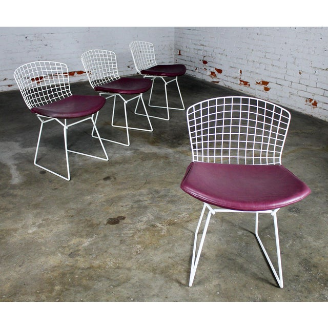 Vintage Mid-Century Modern Bertoia White Wire Side Chairs For Sale - Image 11 of 11