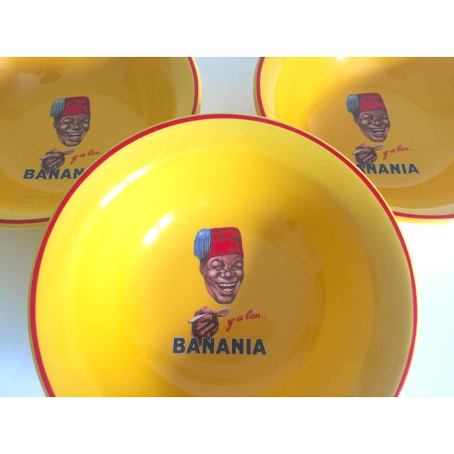 "2000s "" Banania "" Jars France Editions Clouet Rare Vintage Yellow Ceramic Bowls - Set of 3 For Sale - Image 5 of 13"
