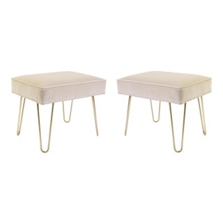 Montage Ottomans on Brass Hairpin Legs - A Pair
