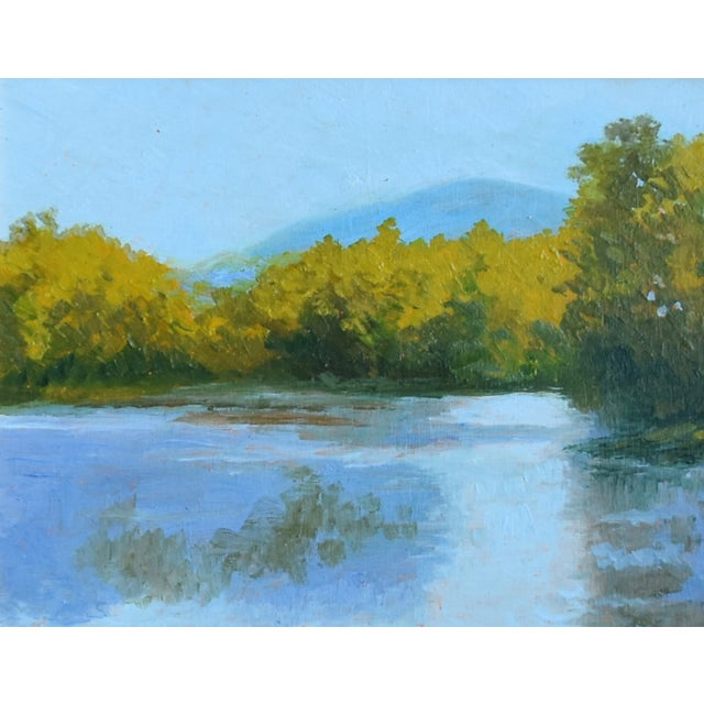 bc49f8a3a572 Early 21st Century Plein Air Lake   Landscape Oil Painting W  Gold Leaf  Frame For