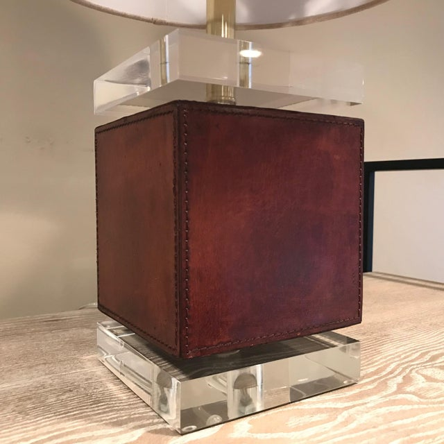 Traditional Ambassador Table Lamp - Brown Leather Base For Sale - Image 3 of 5