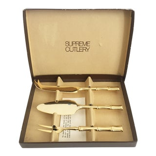 Vintage Golden Bamboo Cheese Serving Tools For Sale