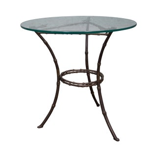 Brass & Glass Faux Bamboo Round Small Side Table For Sale