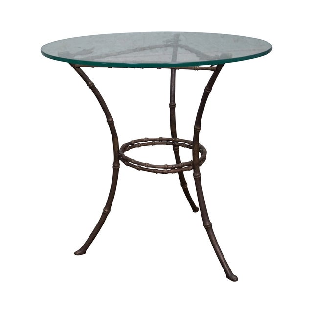 Brass & Glass Faux Bamboo Round Small Side Table - Image 1 of 10