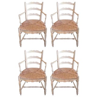 Four 19th Century French Painted Pine Provençal Arm-Chairs. For Sale