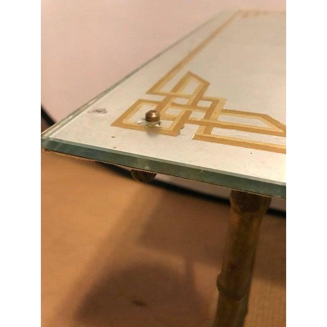 Hollywood Regency Bronze Based Eglomise Top Coffee Table - Image 7 of 10