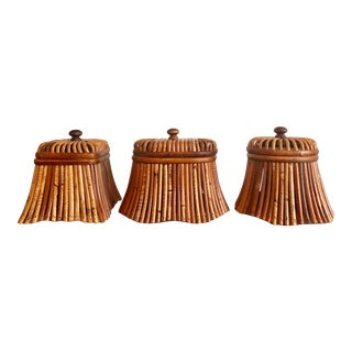 1970s Vintage Bamboo Rattan Bentwood Boxes - Set of 3 For Sale