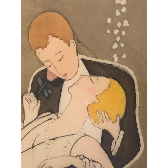 1980s Art Nouveau Batik of Lovers, Framed For Sale In Philadelphia - Image 6 of 9