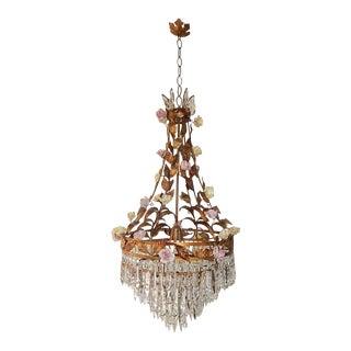 Huge Tole Porcelain Roses and Crystal Prisms Chandelier For Sale