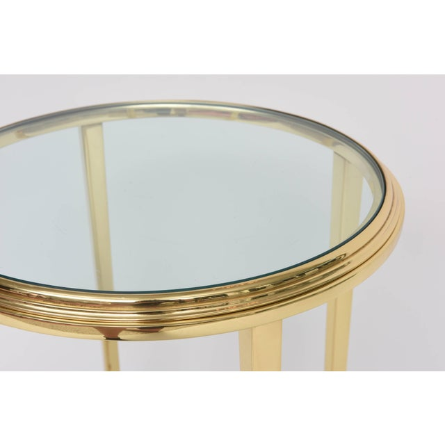Metal 1960s Neoclassical Revival Round Brass Side Table For Sale - Image 7 of 10