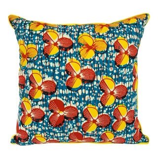 Red/Yellow & Yellow Backed African Wax Print Pillow