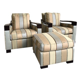Donghia Lounge Chairs and Ottoman - Set of 3