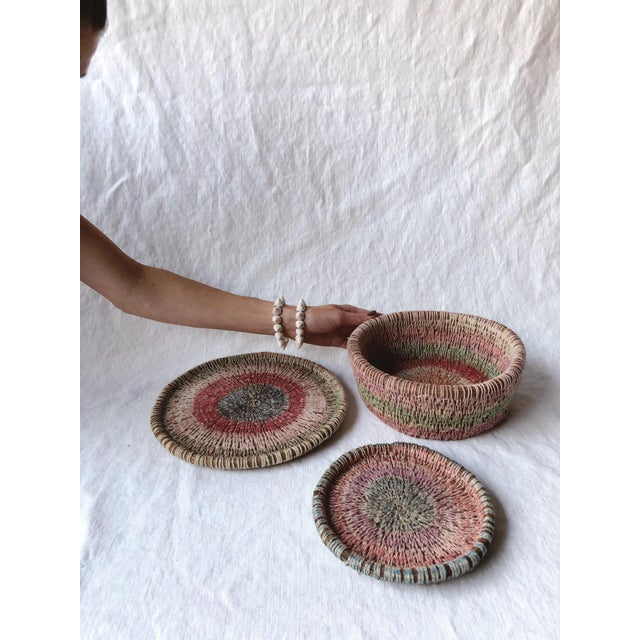 Late 20th Century Primitive Woven Pine Needle Basket Trio - Set of 3 For Sale - Image 5 of 8