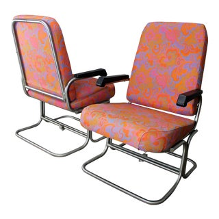 Mid-Century Modern Pullman Train Car Folding Lounge Chairs - A Pair