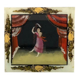 19th Century Figurative Reverse Painting on Glass of Woman in Red Dress on Stage For Sale