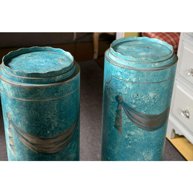 Blue Painted Pedestals - A Pair For Sale - Image 4 of 8