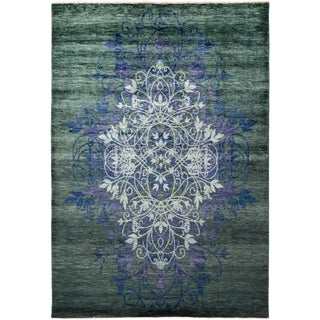 """""""Exuma"""", Suzani Hand-Knotted Area Rug - 6'3"""" X 9'1"""" For Sale"""