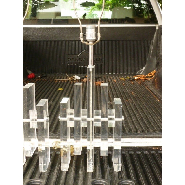 70's striking architectural vertical stacked lucite lamps sold as found standing 28 inches tall . Lucite alone stands 15...