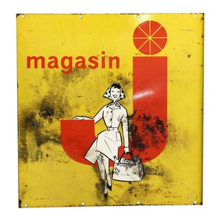 Vintage Magasin Advertisement Metal Sign For Sale