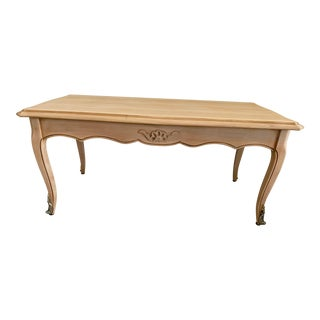 French Antique Coffee Table Louis XV Style With 2 Drawers Bleached For Sale