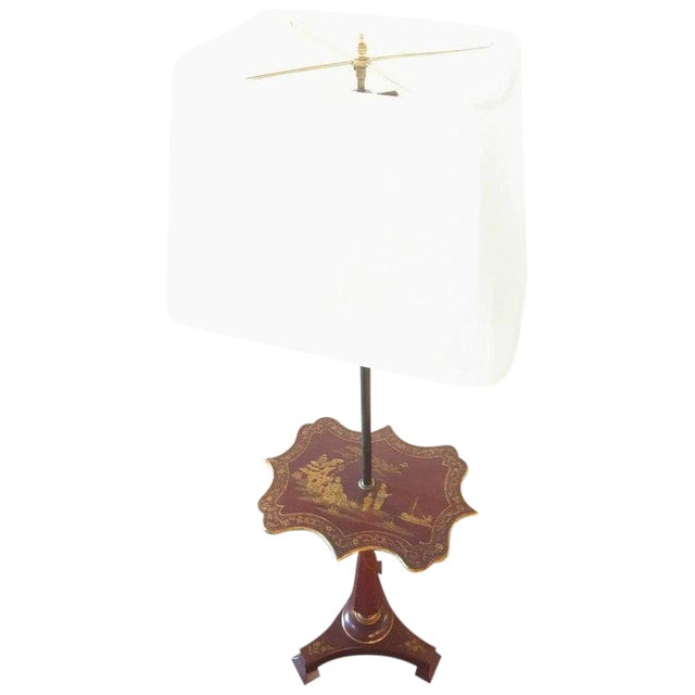 Red Chinoriserie Decorated Table Lamp With Custom Shades For Sale