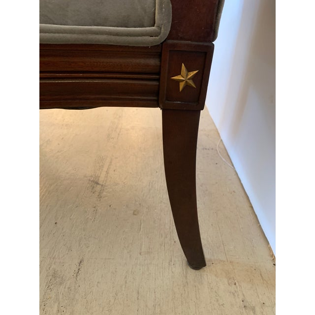 Gray 19th Century Mahogany Neoclassical Regency Style Arm Chair With Stars For Sale - Image 8 of 13