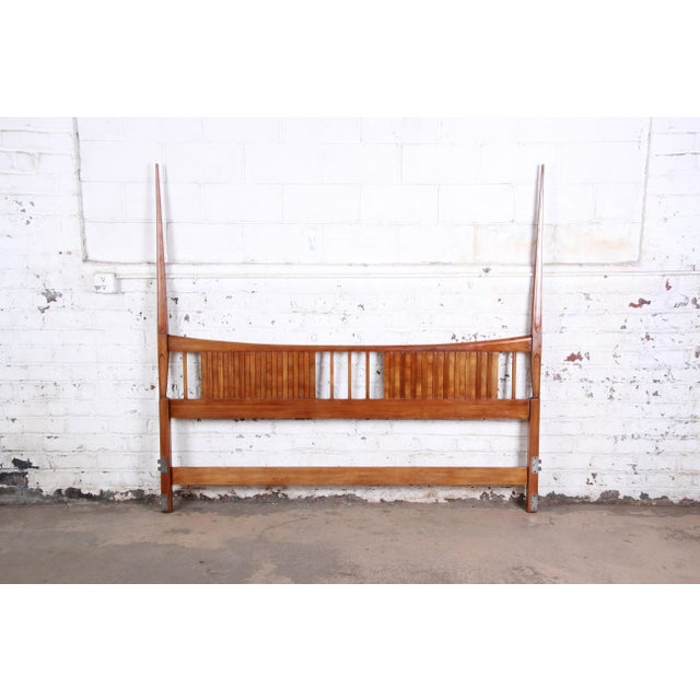 Brown John Widdicomb Mid-Century Modern Sculpted Cherry Wood King Size Headboard For Sale - Image 8 of 8