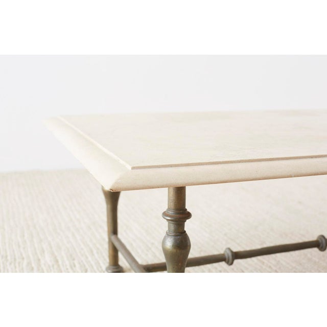 Italian Hollywood Regency Marble-Top Brass Cocktail Table For Sale In San Francisco - Image 6 of 13
