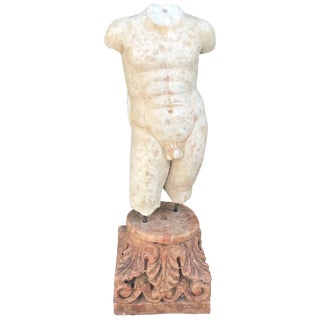 Male Torso Hand-Carved Marble Sculpture For Sale