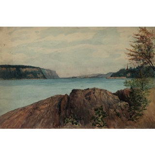 1922 Hudson River From Ft Washington Park Painting by Harnett For Sale