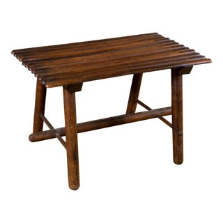 Petite Hand-Made Rustic Wood Footstool from Belgium, circa 1920 For Sale
