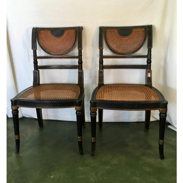 French Set of 8 French Cane Dining Chairs Circa 1840 - Two Arm & Six Side Chairs For Sale - Image 3 of 13