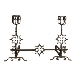 18th Century Grand Wrought Iron Andirons For Sale