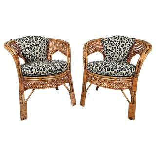 Leopard Print Caned Chairs, Pair For Sale