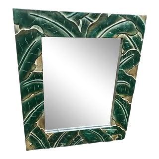 Carved Banana Palm Leaf Mirror For Sale