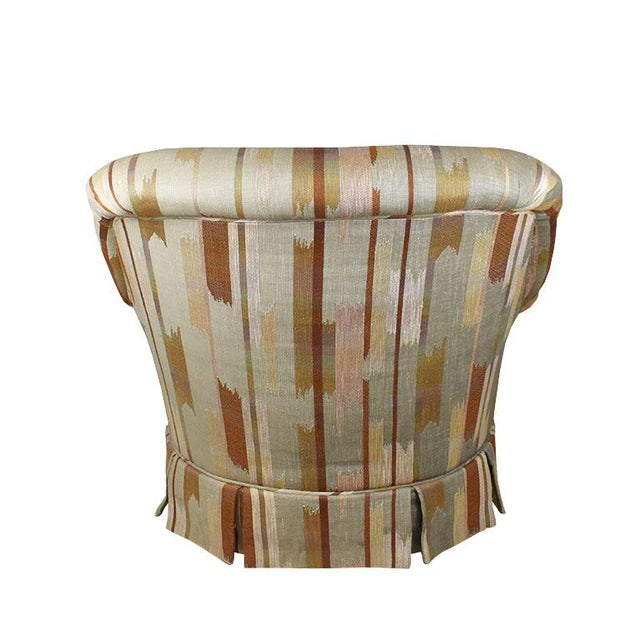 Late 20th Century Rolling Upholstered Southwest Ikat Armchair in Brown Cream and Blue by Baker Furniture Company For Sale - Image 5 of 13