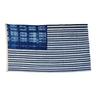 "Boho Chic Custom Blue & White African Textile Flag Throw 57"" X 33"" For Sale"