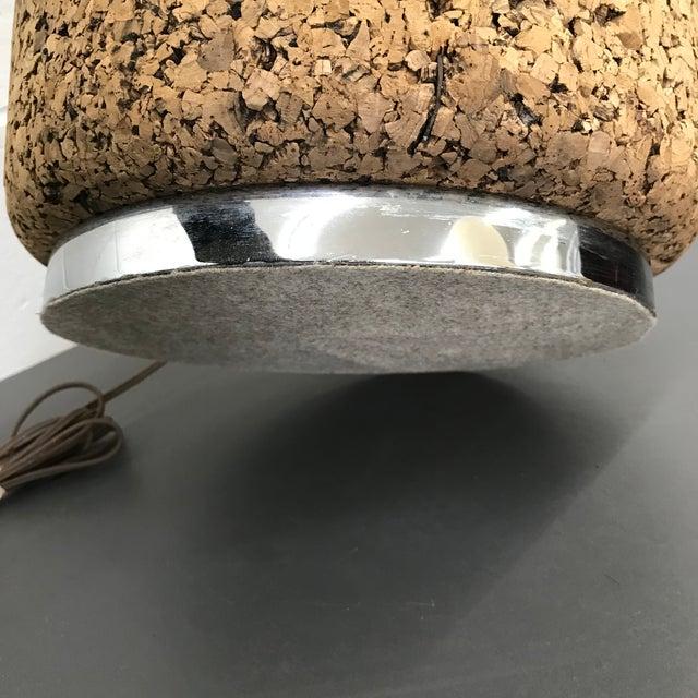 Mid-Century Modern Cork & Chrome Lamp For Sale - Image 9 of 11
