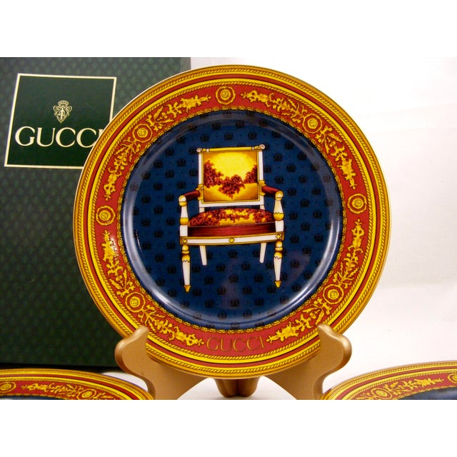 Gucci Gucci Porcelain Chair Plates - Set of 4 For Sale - Image 4 of 9